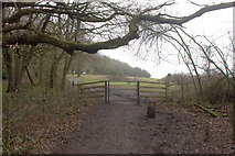 TQ2352 : Gate on to National Trust area at Colley Hill by Robert Eva