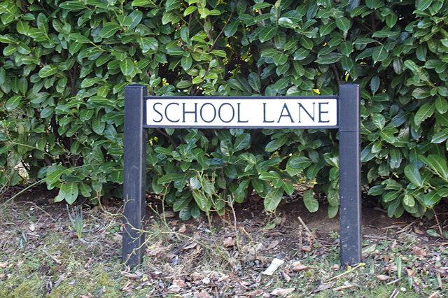 School Lane sign