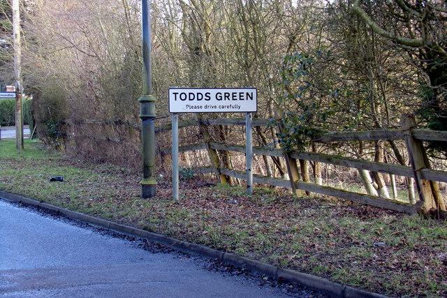Todds Green Village Name sign on Stevenage Road