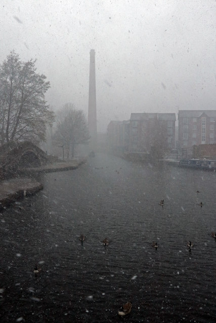 The Ashton Canal in a snow storm