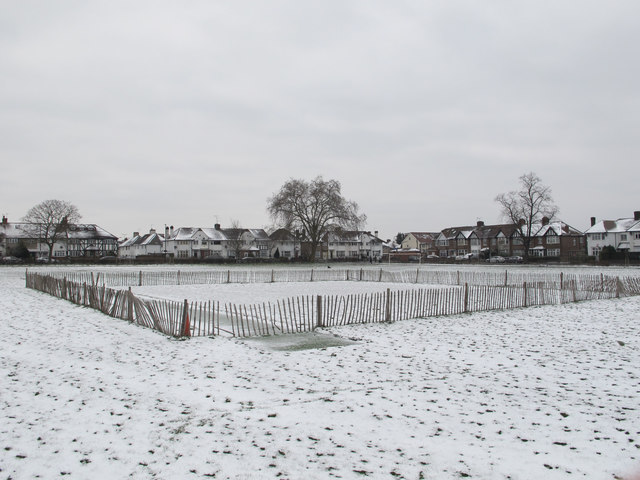 Cricket square under snow, North Acton playing field