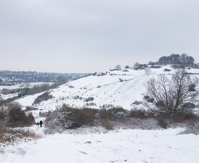 St Catherine's Hill in March snow