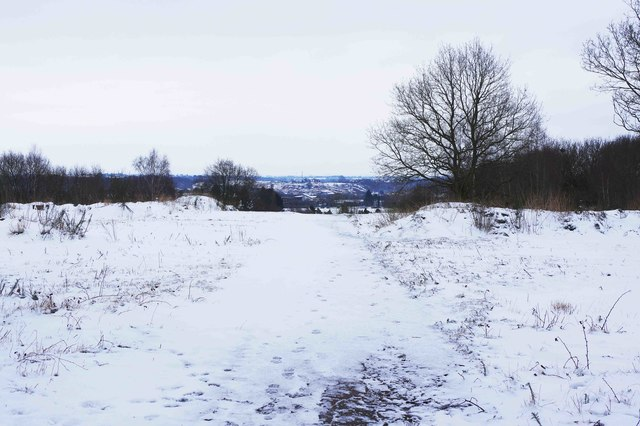Snow-covered footpath, Burlish Top Nature Reserve, Stourport-on-Severn