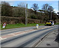 SN4301 : Warning sign - Rhew/Ice, Gwscwm Road, Pembrey by Jaggery