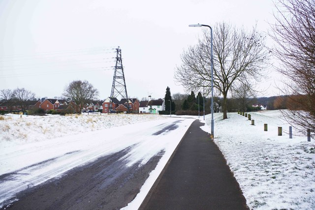 Power Station Road in winter, Stourport-on-Severn