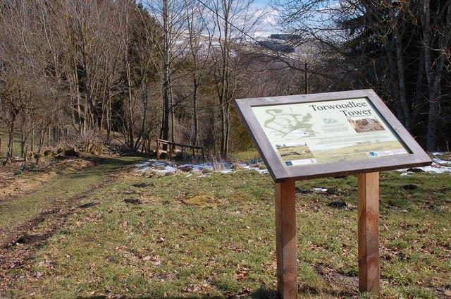 Information board for Torwoodlee Tower