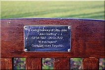 SP3509 : Dedication plaque on seat in The Leys, Witney, Oxon by P L Chadwick