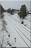 SX9065 : Railway lines in the snow, Torre by Derek Harper