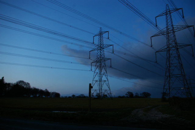 Pylon lines at Snape, evening