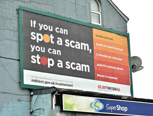 Spot a scam poster, Belfast (March 2018) © Albert Bridge cc-by-sa ...
