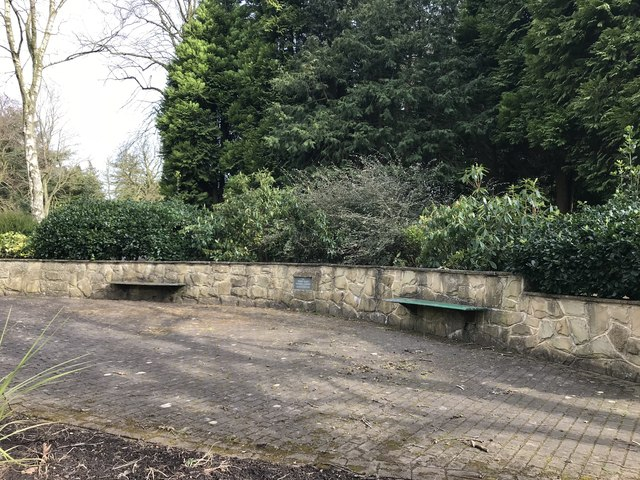 Benches by memorial garden