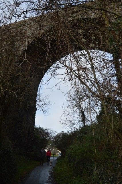 South West Coast Path under railway viaduct