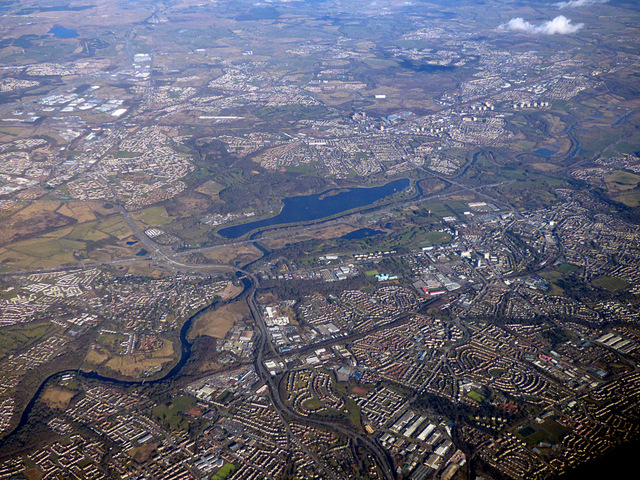 Blantyre and the River Clyde from the air