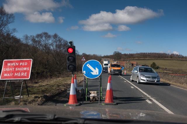 Roadworks to fix a blocked drain