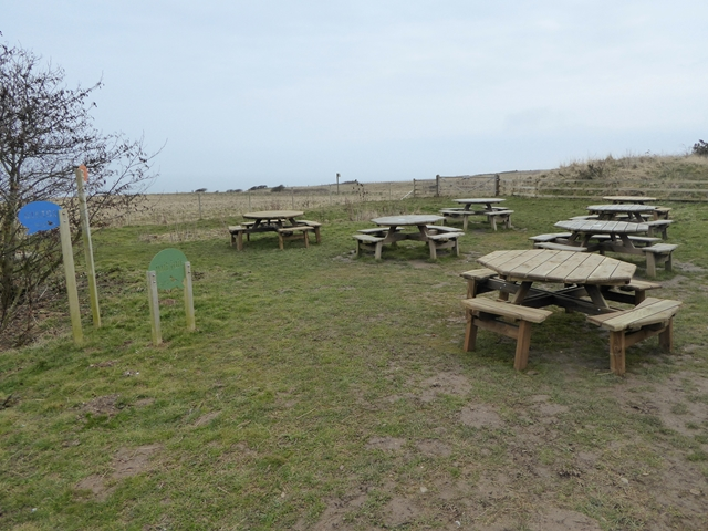 Picnic tables outside the RSPB Bempton Visitor Centre