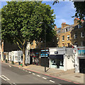 TQ3178 : Shops, south end of Kennington Road A23, Kennington, south London by Robin Stott