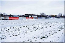 SO8455 : Snow at Worcester Racecourse by P L Chadwick