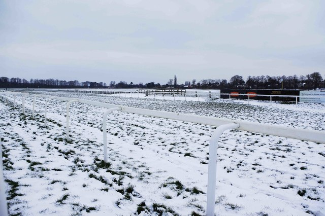 Snow at Worcester Racecourse
