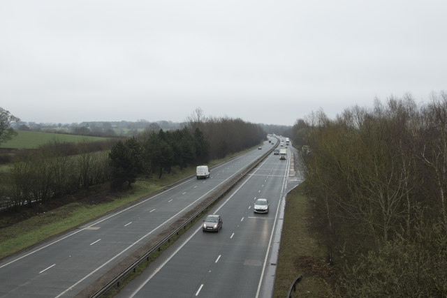 The A50 on a wet morning