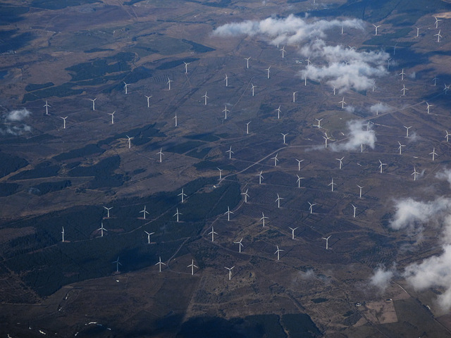 Black Law wind farm from the air
