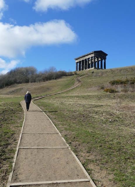 Climbing up to the Penshaw Monument