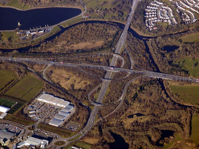 The M74 Junction 6 (Hamilton) from the air