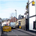 SO3700 : Yellow barriers, Bridge Street, Usk by Jaggery