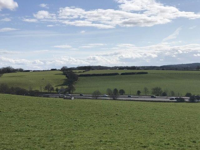 M6 viewed from hillside near Keele
