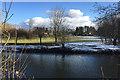 SP2965 : Snow lingering on floodmeadow, Myton, southeast Warwick by Robin Stott