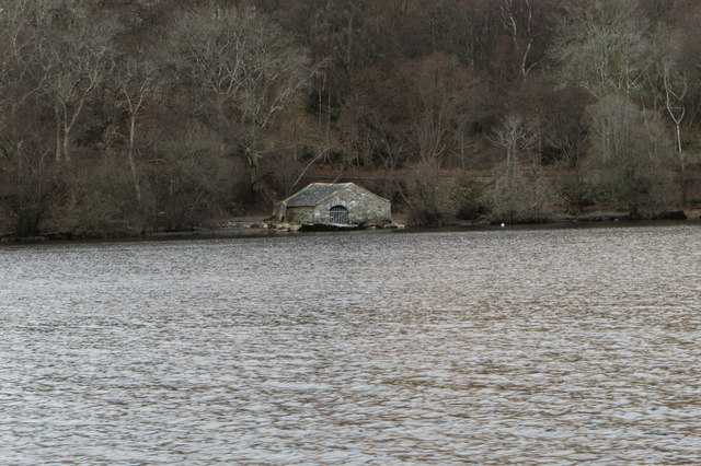 Landing stage and stone boathouse