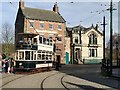 NZ2155 : Vintage tram on the High Street at Beamish Museum by Graham Hogg