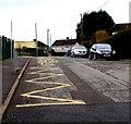 ST0584 : Zigzag yellow markings on Llwyncrwn Road, Beddau by Jaggery