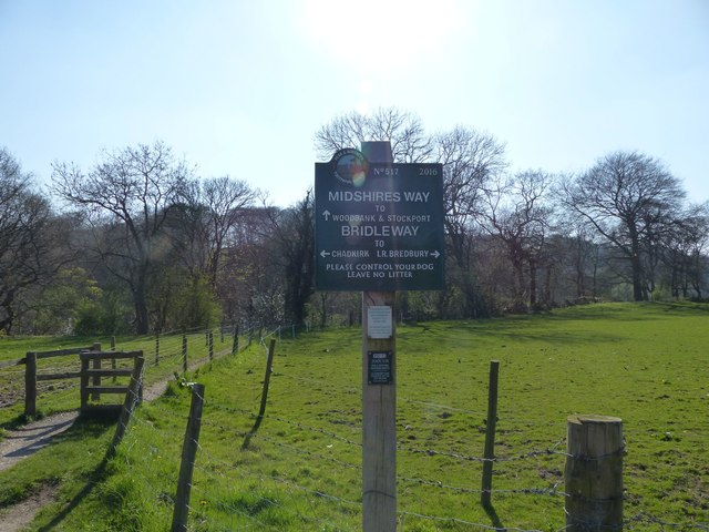 Midshires Way footpath sign near River Goyt