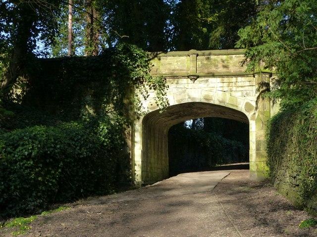 Gothic bridge over footpath