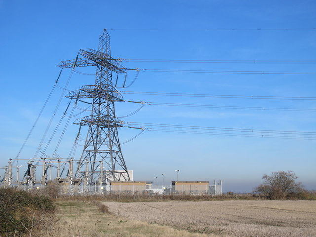 Electricity sub-station at the northern tip of Chetney Marshes