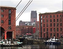SJ3589 : Liverpool Anglican Cathedral from Albert Dock by Anthony Parkes