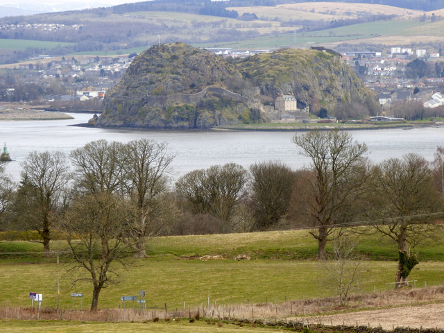 Dumbarton Rock and the rivers Clyde and Leven