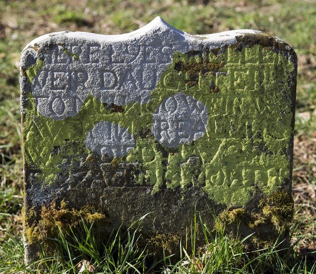 An 18th century gravestone at Crailing Old Parish Churchyard