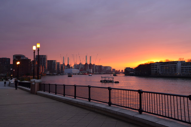 By The River Thames at Vauxhall, London