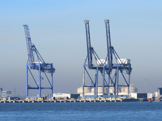 The River Medway by the container terminal on the Isle of Grain
