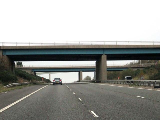 The M65 runs under the A6077