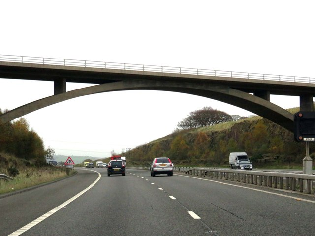 The M65 runs under Stanhill Road
