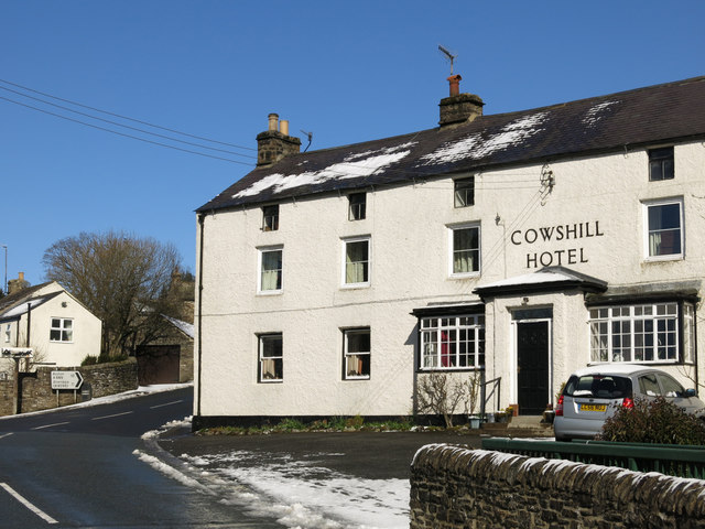 The Cowshill Hotel and road junction