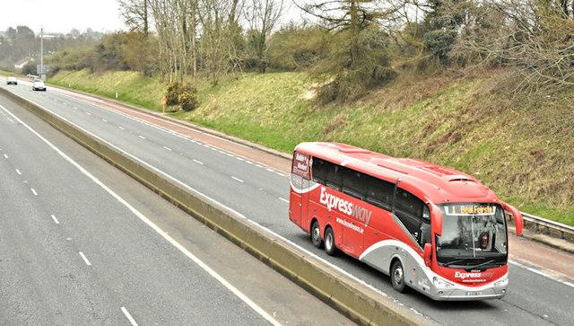 Bus Eireann coach, M1, Ballyskeagh    © Albert Bridge :: Geograph