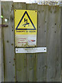 TM3674 : Signs on Electricity Sub-Station by Adrian Cable
