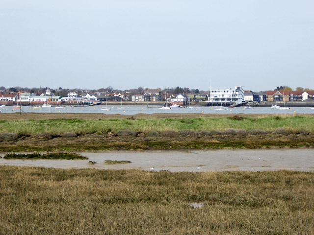View from new sea wall to old sea wall, Wallasea Island