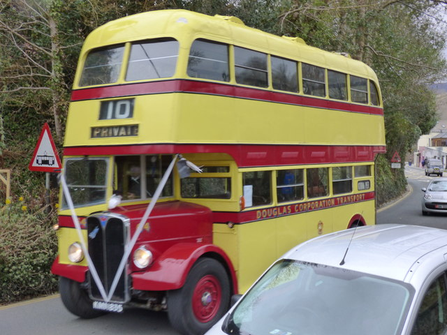 A preserved bus at Laxey