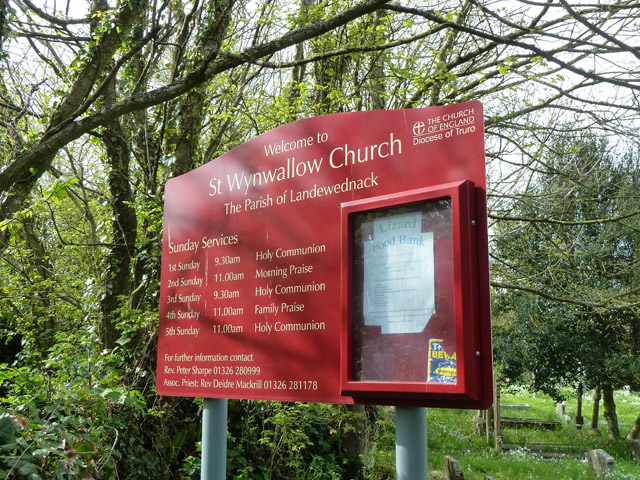 Church board, St. Wynwallow, Landewednack