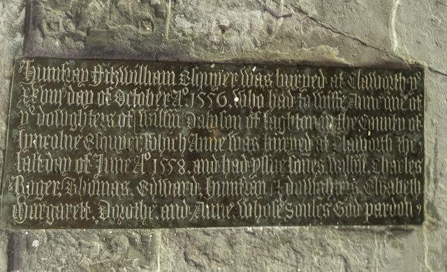 Brass inscription on tomb, St Peter's church, Clayworth