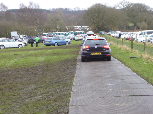 Vehicles leaving the car park field